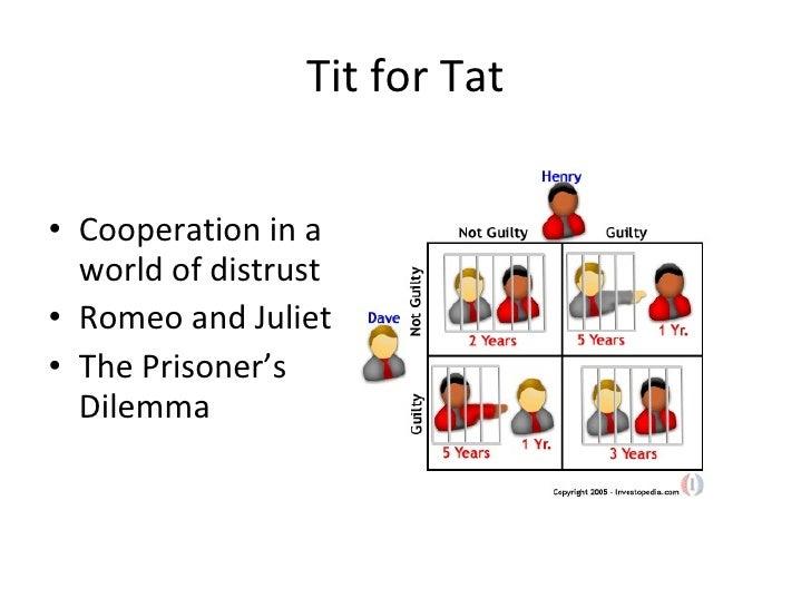 Tit for Tat <ul><li>Cooperation in a world of distrust </li></ul><ul><li>Romeo and Juliet </li></ul><ul><li>The Prisoner's...