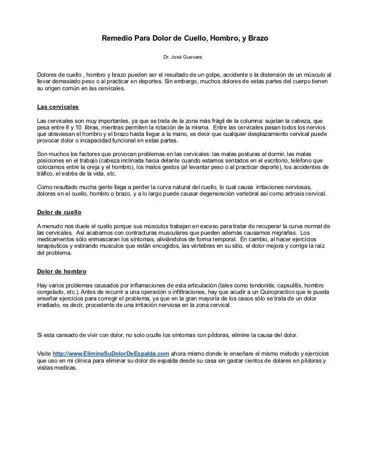 Remedio Para Dolor de Cuello, Hombro, y Brazo                                                  Dr. José GuevaraDolores de ...