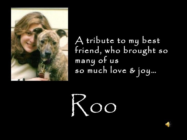 Roo A tribute to my best friend, who brought so many of us so much love & joy…