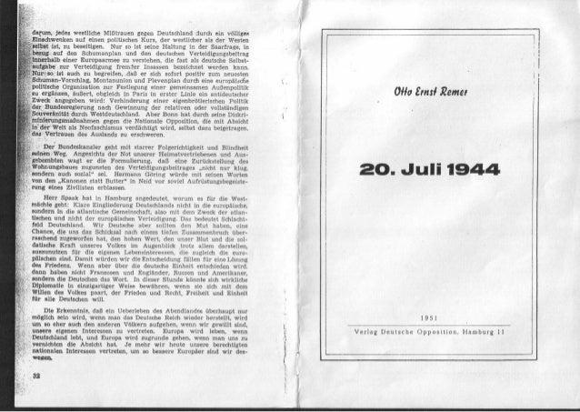 Remer, Otto Ernst Generalmajor.a.D - Heft zum 20. Juli.1944 (1951)