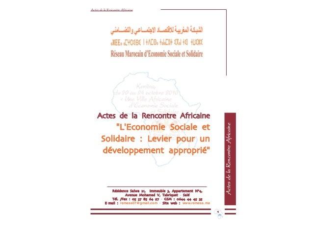"""Actes de la Rencontre Africaine ActesdelaRencontreAfricaine Actes de la Rencontre Africaine """"""""LL''EEccoonnoommiiee SSoocci..."""