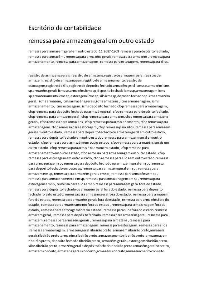 Escritório de contabilidade remessa para armazem geral em outro estado remessaparaarmazemgeral emoutroestado 11 2687-1909 ...