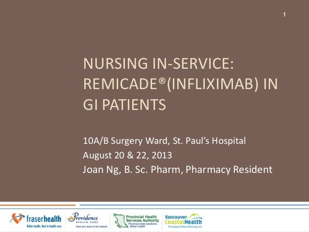 NURSING IN-SERVICE: REMICADE®(INFLIXIMAB) IN GI PATIENTS 10A/B Surgery Ward, St. Paul's Hospital August 20 & 22, 2013 Joan...