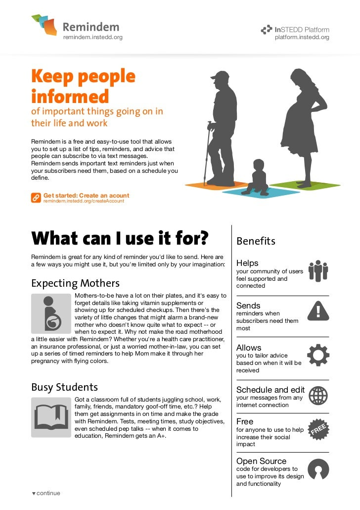 remindem.instedd.org                                                             platform.instedd.orgKeep peopleinformedof...