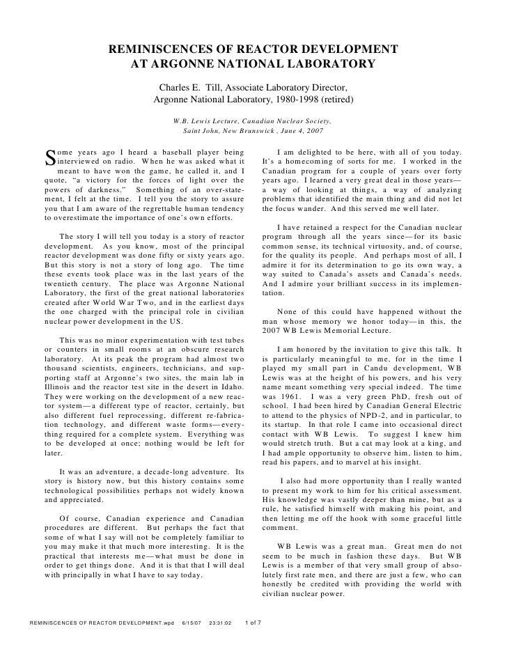 REMINISCENCES OF REACTOR DEVELOPMENT                                       AT ARGONNE NATIONAL LABORATORY                 ...