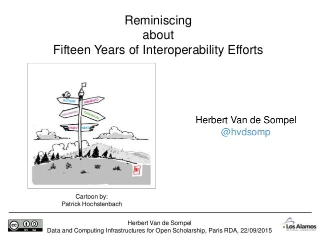 Herbert Van de Sompel Data and Computing Infrastructures for Open Scholarship, Paris RDA, 22/09/2015 Reminiscing about Fif...
