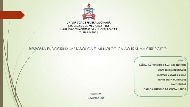 UNIVERSIDADE FEDERAL DO PARÁ FACULDADE DE MEDICINA – ICS HABILIDADES MÉDICAS VI – H. CIRURGICAS TURMA B 2011  RESPOSTA END...