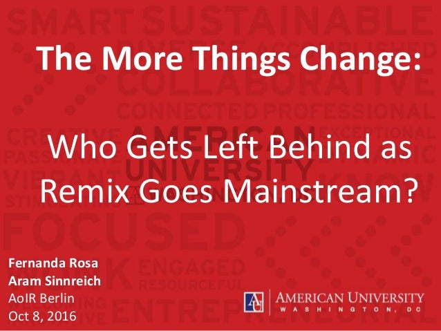 The More Things Change: Who Gets Left Behind as Remix Goes Mainstream? Fernanda Rosa Aram Sinnreich AoIR Berlin Oct 8, 2016