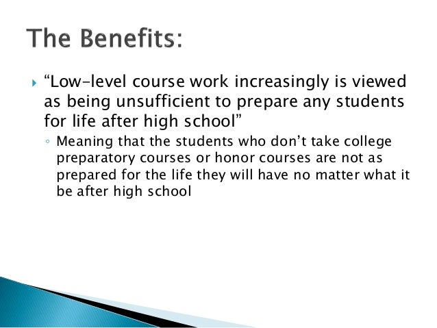 """ """"Low-level course work increasingly is viewed as being unsufficient to prepare any students for life after high school"""" ..."""