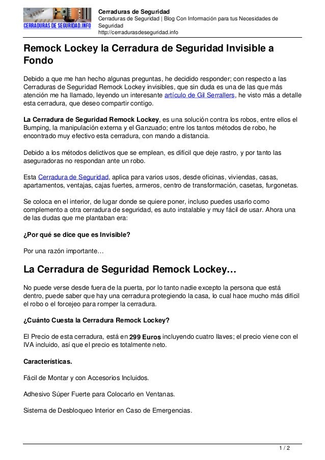 Remock lockey la cerradura de seguridad invisible a fondo for Cerradura invisible remock lockey