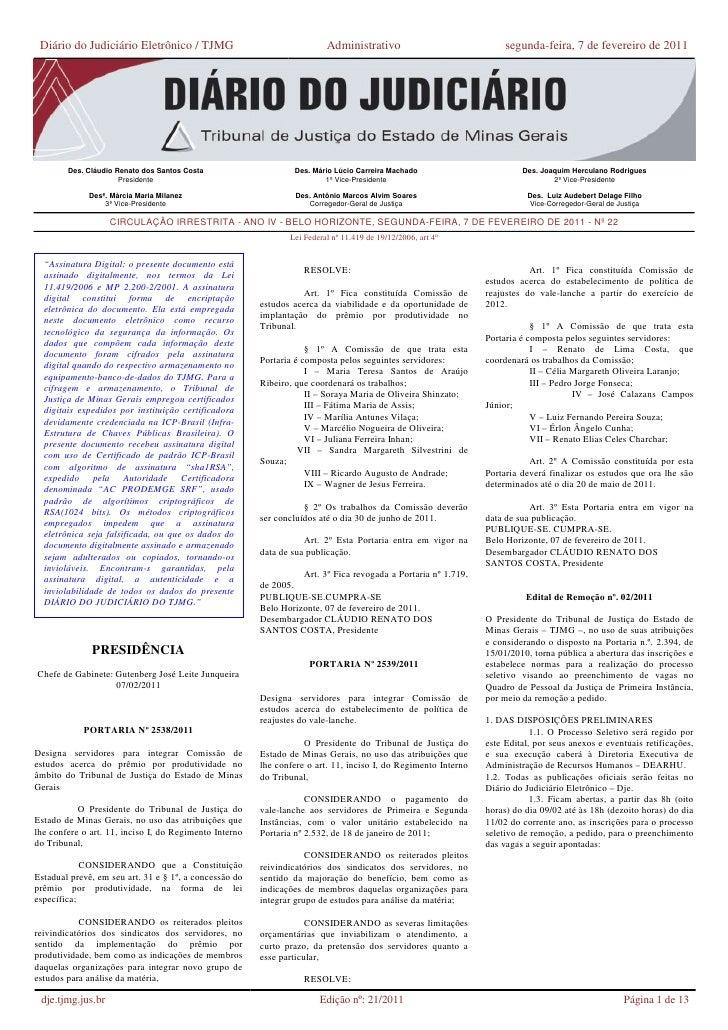 Diário do Judiciário Eletrônico / TJMG                                  Administrativo                              segund...