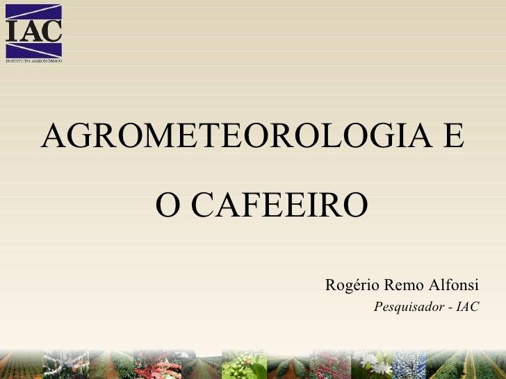 AGROMETEOROLOGIA E O CAFEEIRO Rogério Remo Alfonsi Pesquisador - IAC