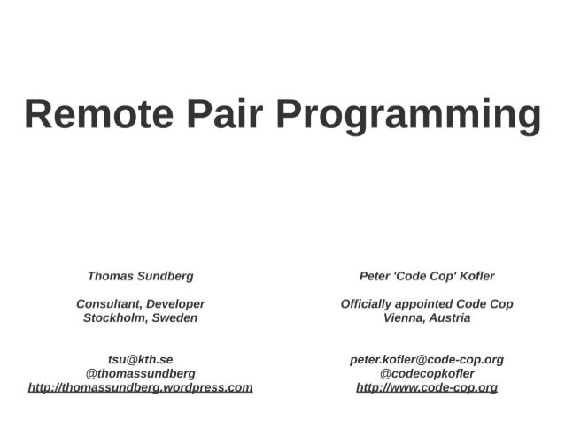 Remote Pair Programming GeeCON 2014