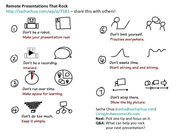 Remote Presentations That Rock http://sachachua.com/wp/p/7181  – share this with others! Sacha Chua ( [email_address] ) Li...