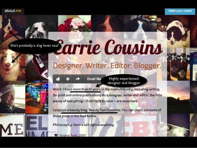 Dog lover!Highly experienced  designer and blogger  She's probably a dog lover too!