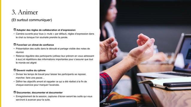 3. Animer ☑ Adopter des règles de collaboration et d'expression • Caméra ouverte pour tous (« mute » par défaut), règles d...