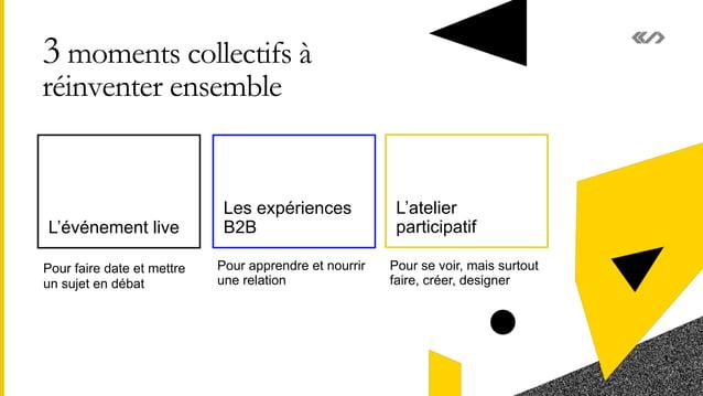 3 moments collectifs à réinventer ensemble L'événement live Les expériences B2B 8 L'atelier participatif Pour apprendre et...