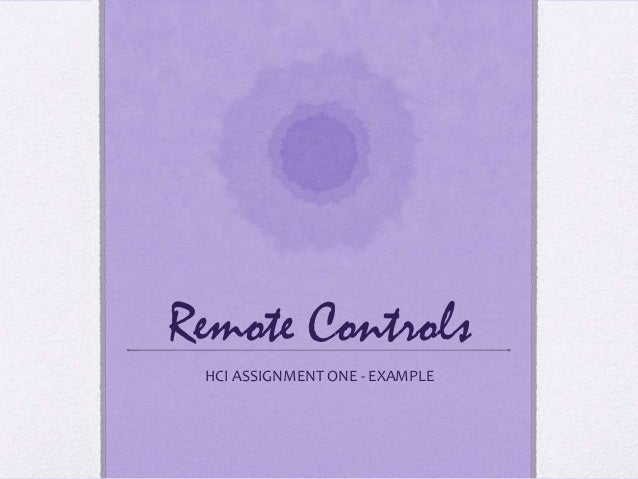 Remote Controls HCI ASSIGNMENT ONE - EXAMPLE