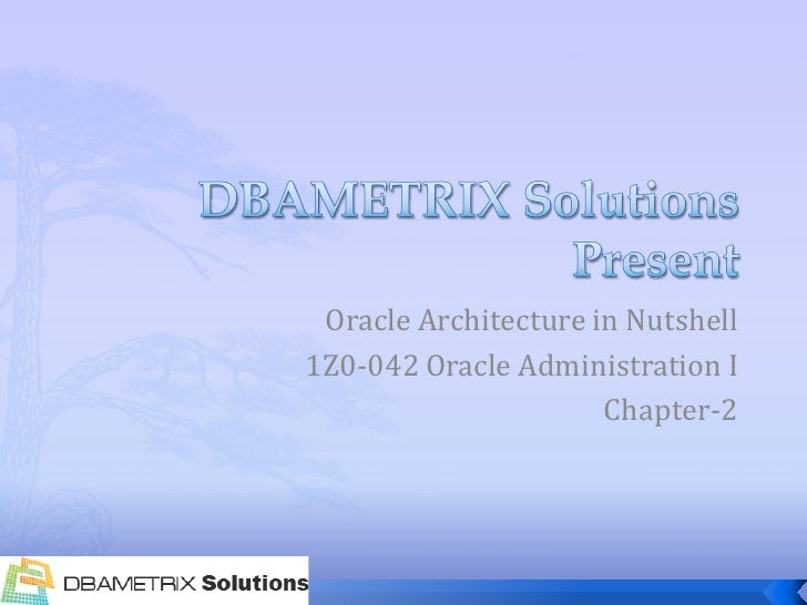 Oracle Architecture in Nutshell 1Z0-042 Oracle Administration I                       Chapter-2