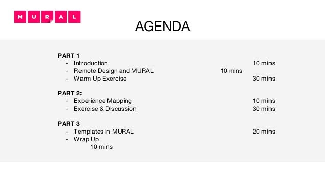 AGENDA PART 1 - Introduction 10 mins - Remote Design and MURAL 10 mins - Warm Up Exercise 30 mins PART 2: - Experience Map...