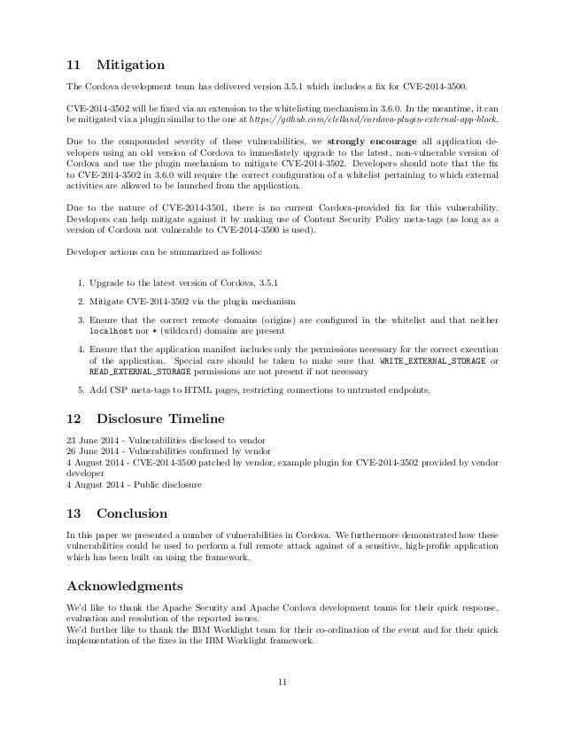 11 Mitigation The Cordova development team has delivered version 3.5.1 which includes a fix for CVE-2014-3500. CVE-2014-350...