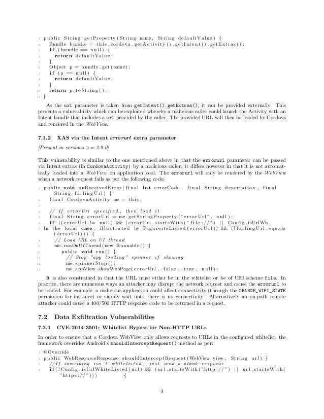 1 public String getProperty ( String name , String defaultValue ) { 2 Bundle bundle = t h i s . cordova . getActivity () ....