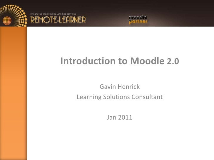 Introduction to Moodle 2.0<br />Gavin Henrick<br />Learning Solutions Consultant<br />Jan 2011<br />
