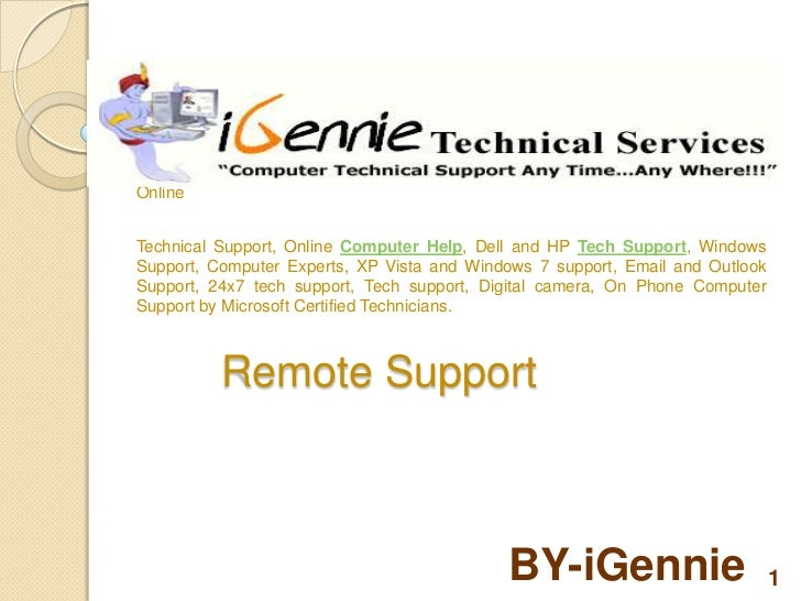 World leading Online Computer Support with iGennie on+1-800-831-9601 and getOnlineTechnical Support, Online Computer Help,...