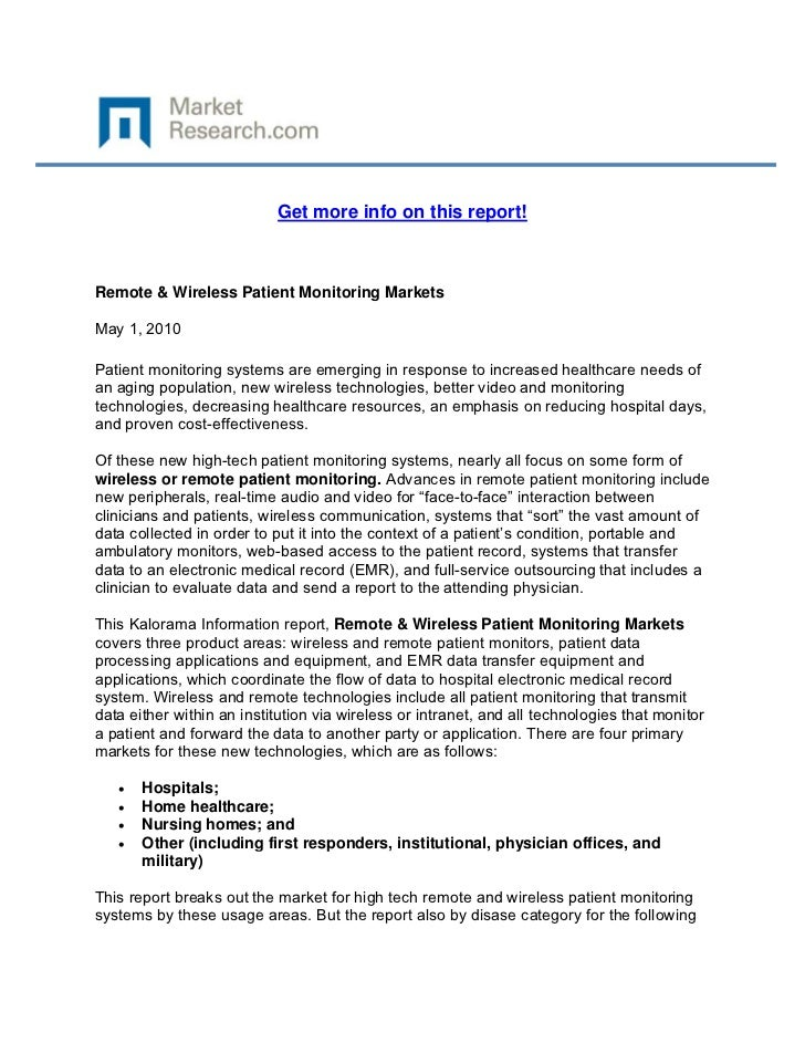 Get more info on this report!Remote & Wireless Patient Monitoring MarketsMay 1, 2010Patient m...