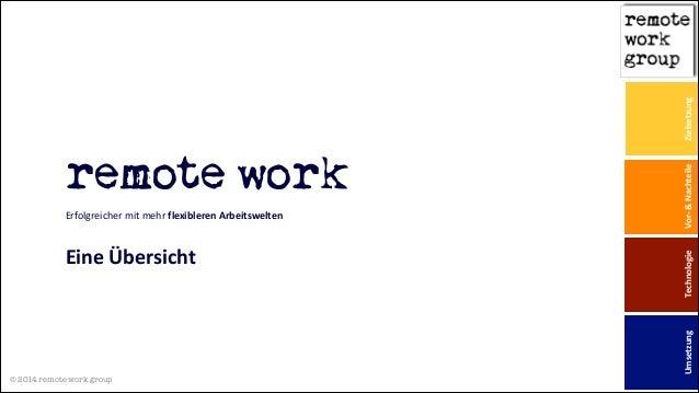 © 2014 remote work group ! remote work Erfolgreicher mit mehr flexibleren Arbeitswelten  ! Eine Übersicht Zielsetzu...