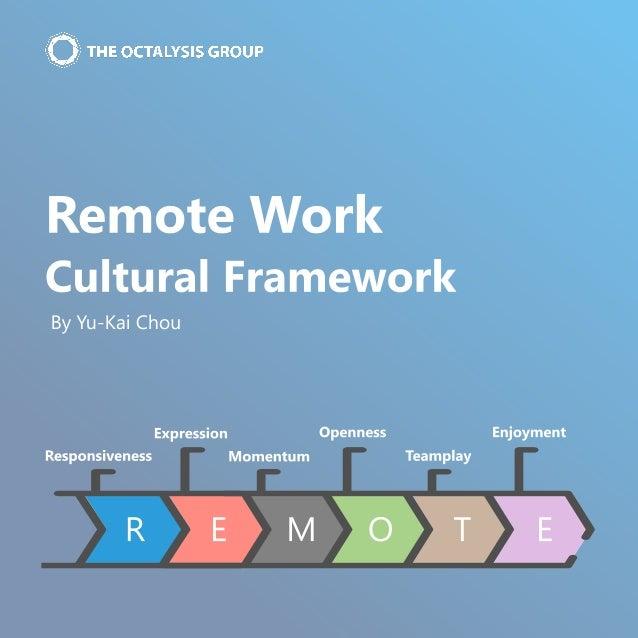 Remote Work   Cultural Framework By Yu-Kai Chou R E M O T E Responsiveness Enjoyment Momentum Openness Teamplay Expression