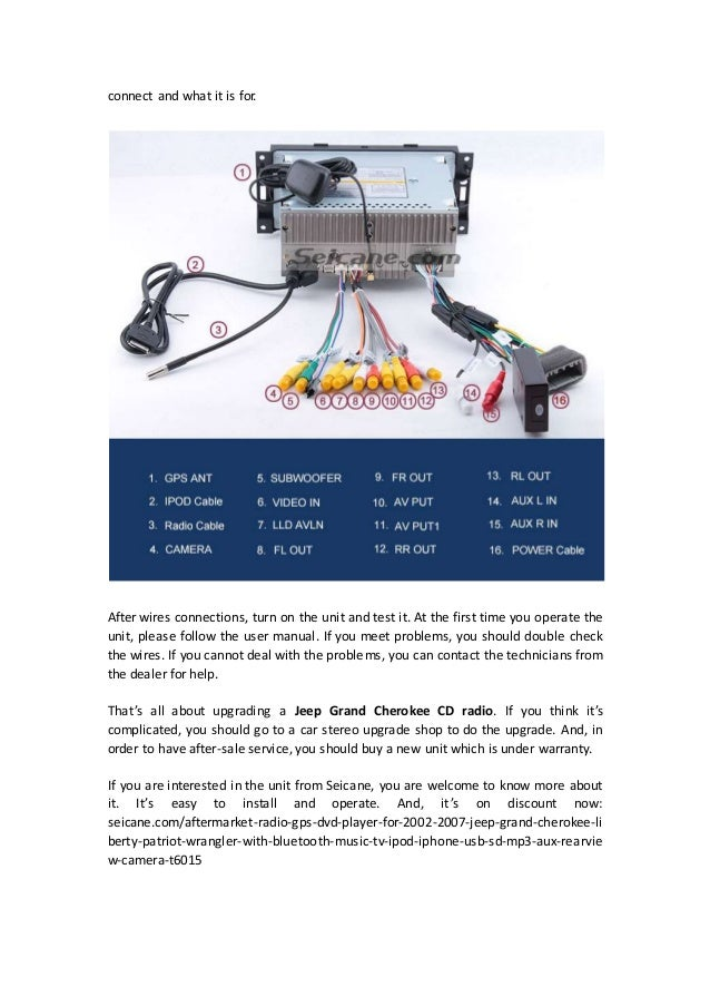 removal and wiring diagram for 2002 2007 jeep grand cherokee cd radio 2 638?cb=1430905093 removal and wiring diagram for 2002 2007 jeep grand cherokee cd radio jeep patriot stereo wiring harness at readyjetset.co