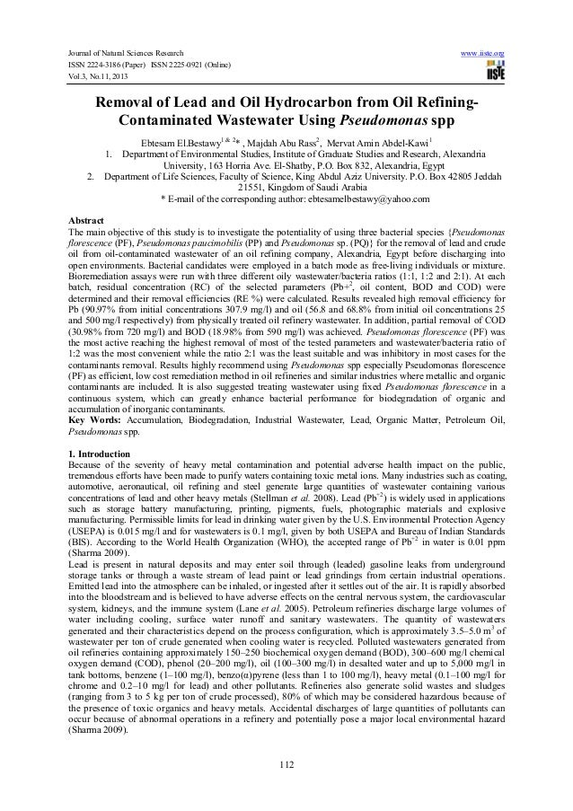Journal of Natural Sciences Research ISSN 2224-3186 (Paper) ISSN 2225-0921 (Online) Vol.3, No.11, 2013  www.iiste.org  Rem...