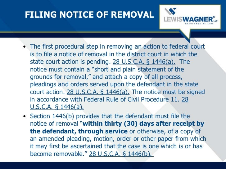 Removal To Federal Court Rob Foos