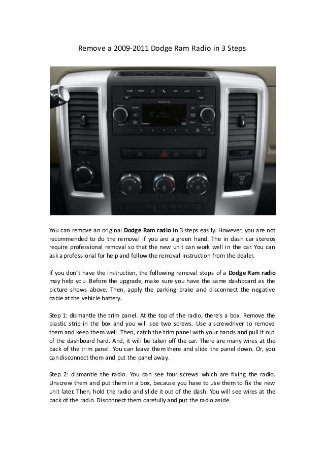 Remove A 2009 2011 Dodge Ram Radio In 3 Steps