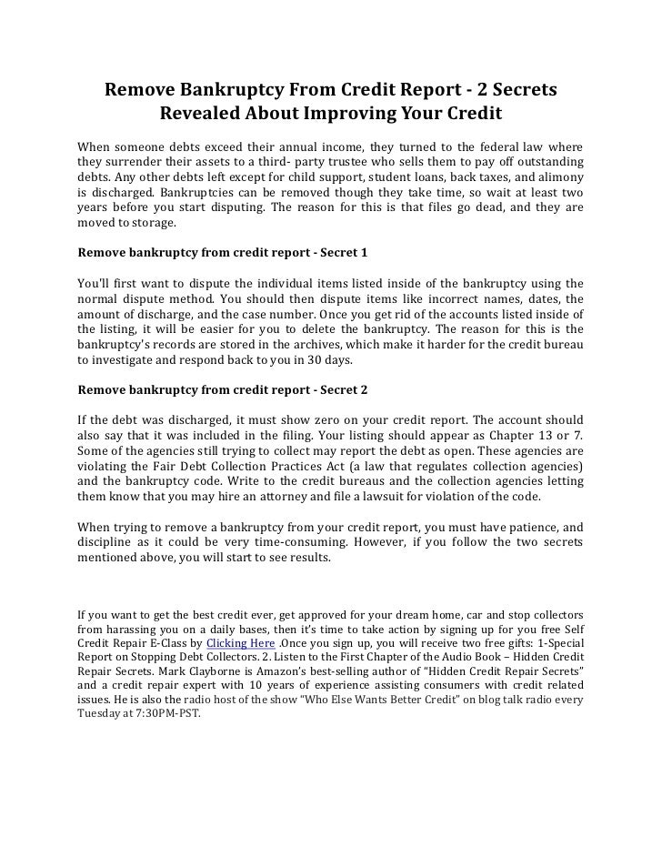 Remove Bankruptcy From Credit Report  Secrets Revealed About Impro