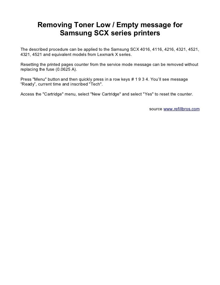 Removing toner low, empty message for samsung scx series printers
