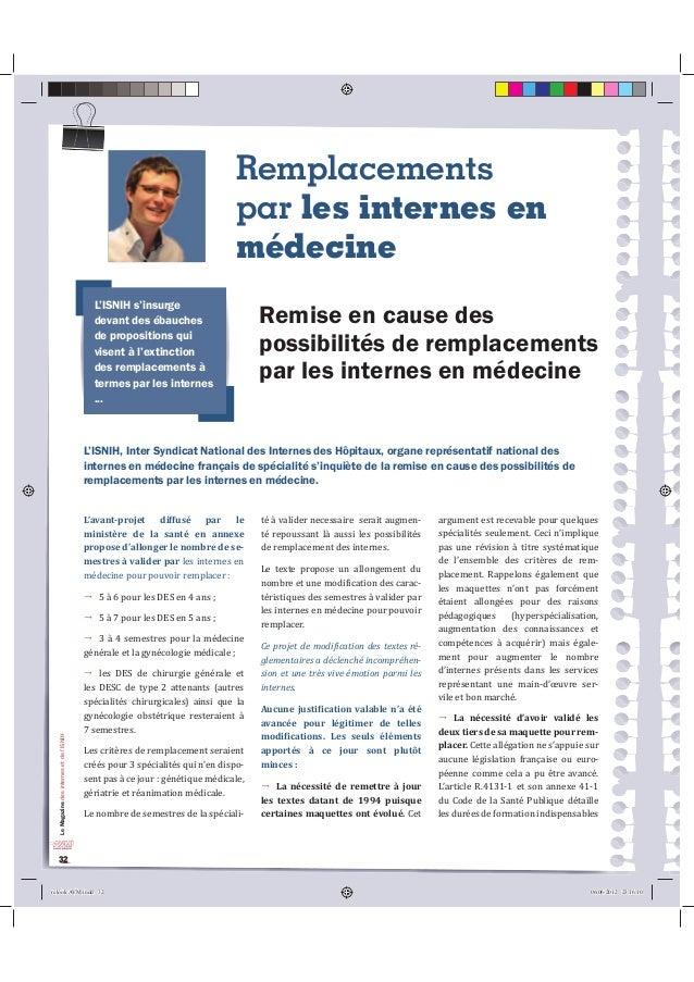 Le Magazine des internes et de l'ISNIH  32  Remplacements  par les internes en  médecine  /·,61,+V·LQVXUJH  GHYDQWGHVpEDXF...
