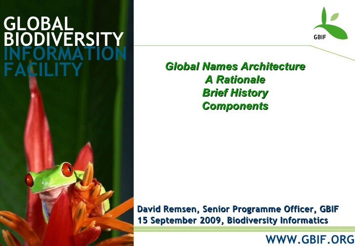 GLOBAL BIODIVERSITY INFORMATION FACILITY David Remsen, Senior Programme Officer, GBIF 15 September 2009, Biodiversity Info...