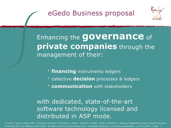 eGedo Business proposal                                    Enhancing the                                  governance of   ...