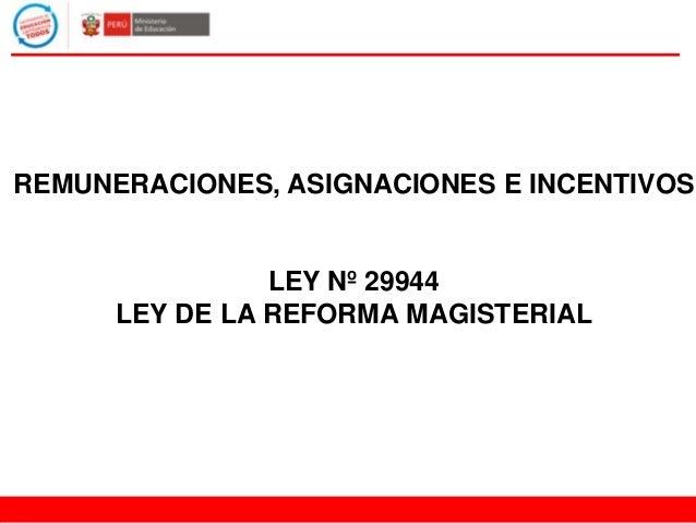 REMUNERACIONES, ASIGNACIONES E INCENTIVOS LEY Nº 29944 LEY DE LA REFORMA MAGISTERIAL