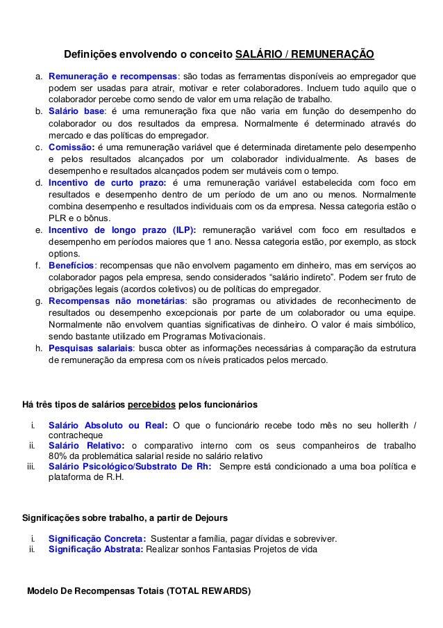 Definições envolvendo o conceito SALÁRIO / REMUNERAÇÃO a. . b. mercado c. : d. Incentivo de curto prazo: e. Incentivo de l...