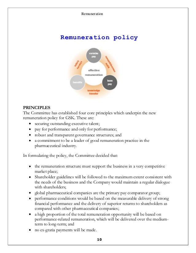 remuneration policy The total remuneration for each executive director comprises the following elements: future policy table the company's remuneration policy from 7 may 2014 in respect of each of the above elements is outlined in the table below.