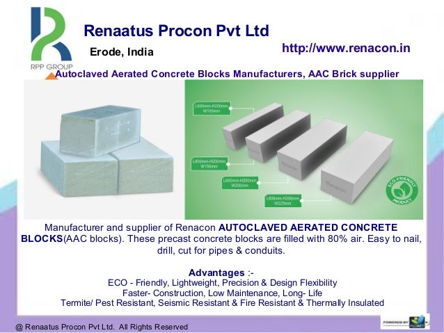 Autoclaved Aerated Concrete Blocks Manufacturers, AAC Brick