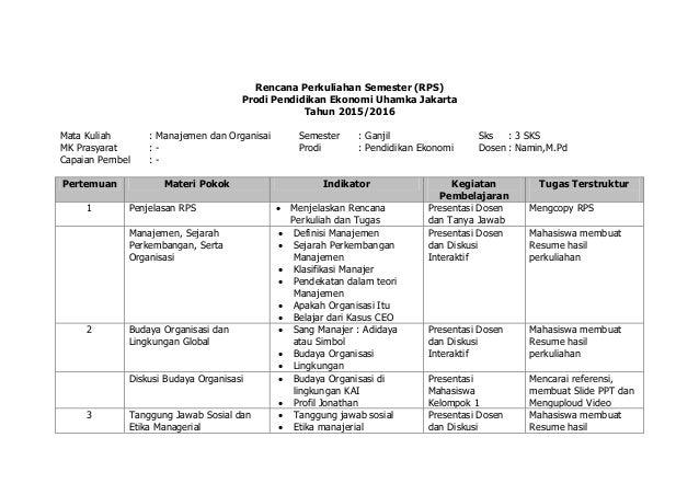 Rencana Perkuliahan Semester (RPS) Prodi Pendidikan Ekonomi Uhamka Jakarta Tahun 2015/2016 Mata Kuliah : Manajemen dan Org...