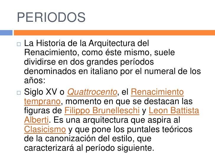Renacimiento Arquitectura quattrocento caracteristicas