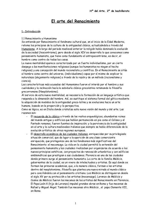 Hª del Arte. 2º de bachillerato El arte del Renacimiento 1.- Introducción 1.1 Renacimiento y Humanismo Se entiende por Ren...