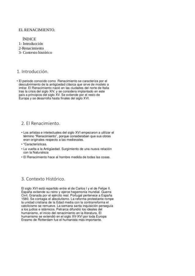 EL RENACIMIENTO. ÍNDICE 1- Introducción 2-Renacimiento 3- Contexto histórico