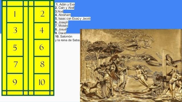 1. Adán y Eva 2. Caín y Abel 3.Noé 4. Abraham 5. Isaac con Esaú y Jacob 6. Joseph 7. Moisés 8. Josué 9. David 10. Salomón ...