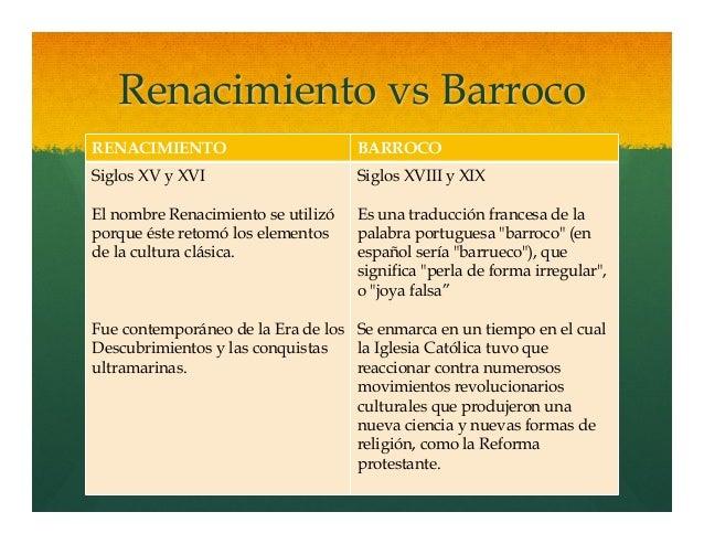 renacimiento vs barroco